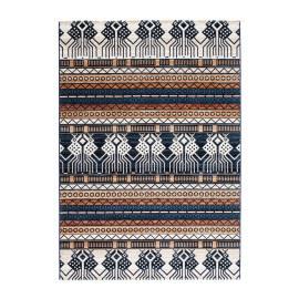 Tapis bleu ethnique à poils courts en polyester Polykrom
