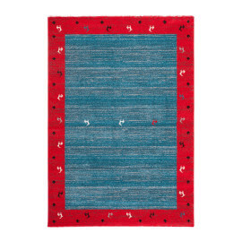 Tapis tissé mécanique bleu ethnique rectangle Tribute