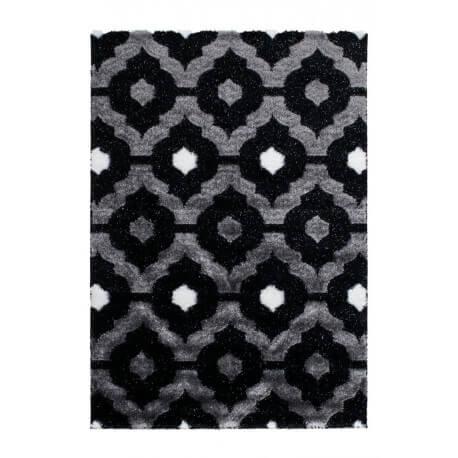 Tapis brillant noir style baroque effet 3d gaya - Tapis shaggy noir brillant ...