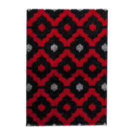 Tapis brillant rouge style baroque effet 3D Gaya
