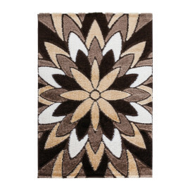 Tapis à motifs fleuris marron brillant rectangle Justine