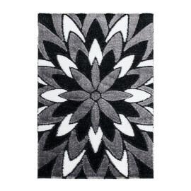Tapis à motifs fleuris argenté brillant rectangle Justine