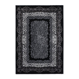 Tapis brillant style baroque noir Argentum