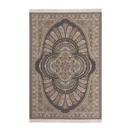 Tapis plat avec franges en polyester style oriental noir Sahara