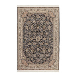 Tapis d'orient avec franges plat rectangle noir Cedar