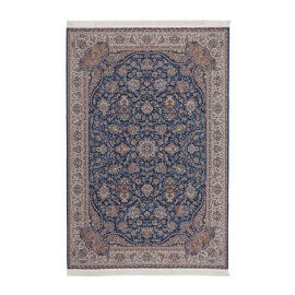 Tapis d'orient avec franges plat rectangle bleu Cedar