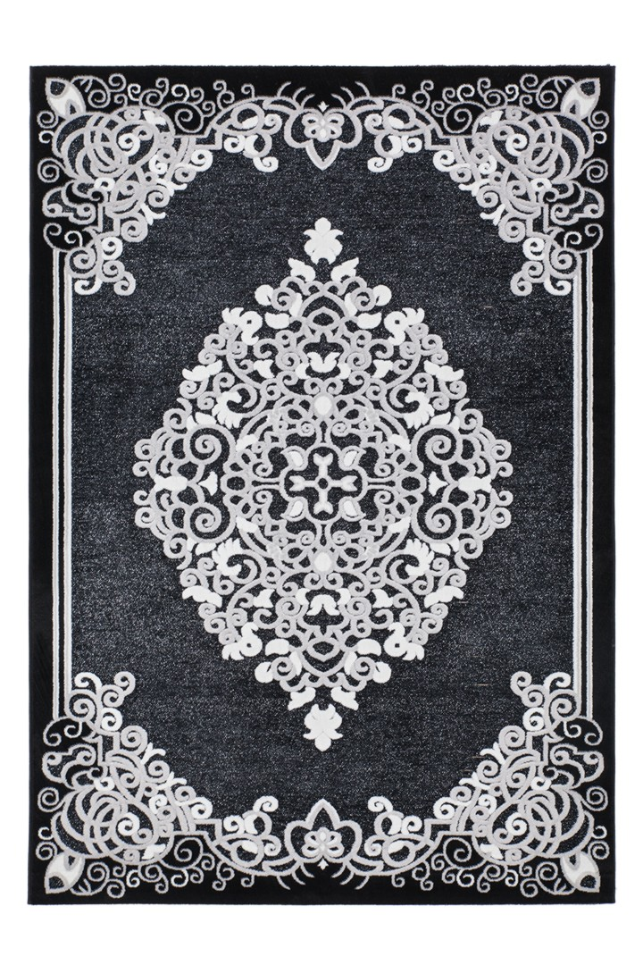 tapis baroque en polypropyl ne noir brillant pacific. Black Bedroom Furniture Sets. Home Design Ideas
