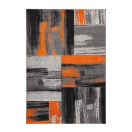 Tapis vintage effet 3D et rayé pour intérieur orange Switch