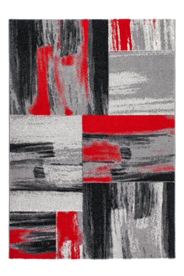 Tapis vintage effet 3D et rayé pour intérieur rouge Switch