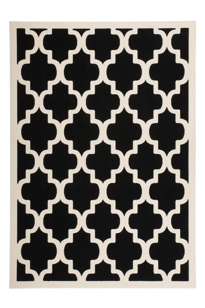tapis style scandinave noir et blanc effet 3d amber. Black Bedroom Furniture Sets. Home Design Ideas