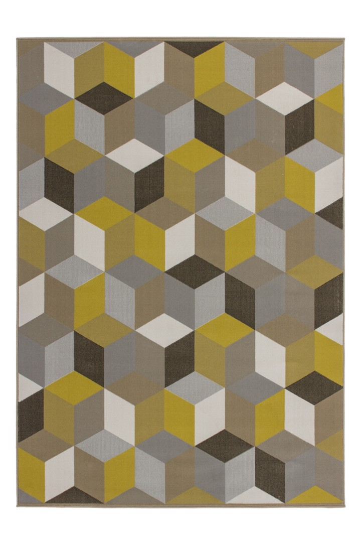 Tapis géométrique style scandinave or Grizly