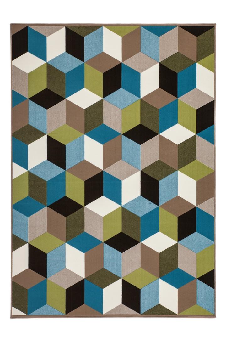 Tapis géométrique style scandinave multicolore Grizly