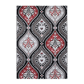 Tapis brillant à courtes mèches baroque rouge Visconti