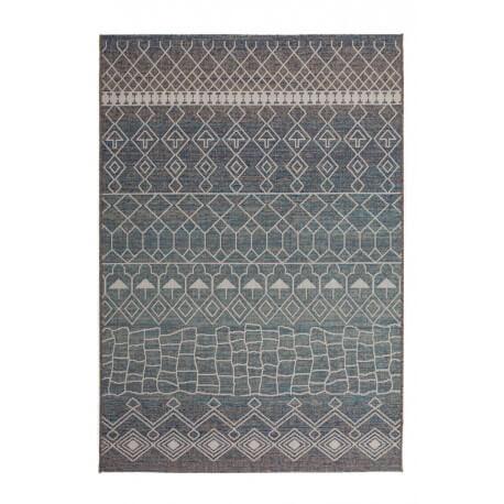 Tapis bleu pastel intérieur et extérieur ethnique Vero