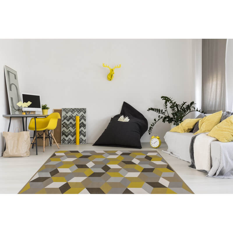 tapis g om trique style scandinave or grizly. Black Bedroom Furniture Sets. Home Design Ideas