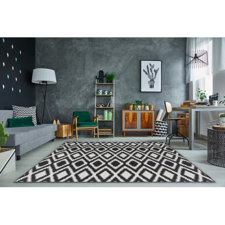 Tapis moderne intérieur et extérieur effet sisal noir et blanc Gazania