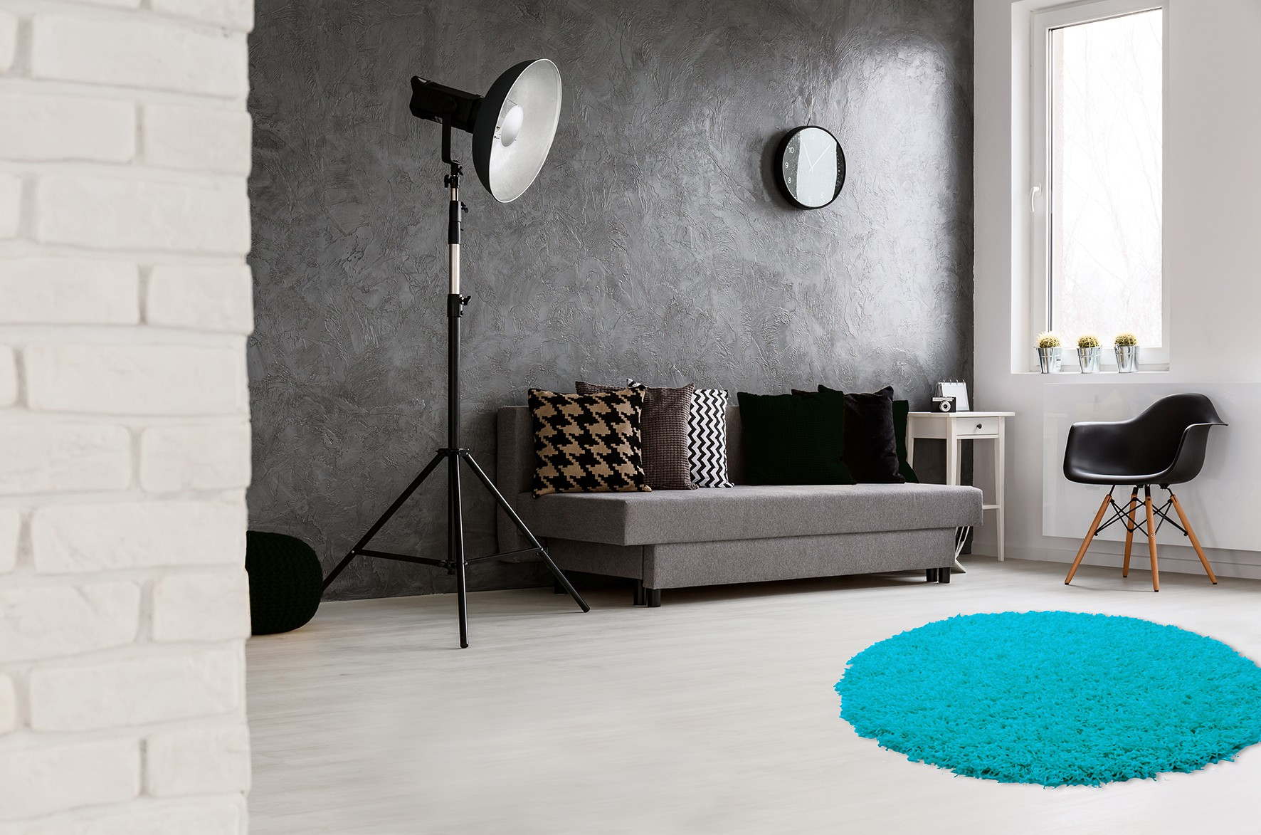 tapis rond uni bleu clair hollywood. Black Bedroom Furniture Sets. Home Design Ideas