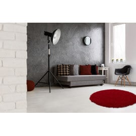 Tapis rond uni bordeaux Hollywood