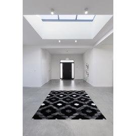 Tapis brillant noir style baroque effet 3D Gaya