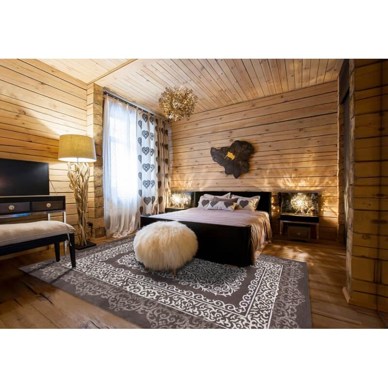 tapis brillant style baroque marron argentum. Black Bedroom Furniture Sets. Home Design Ideas