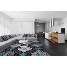 Tapis noir et turquoise style baroque brillant pour salon Sencha