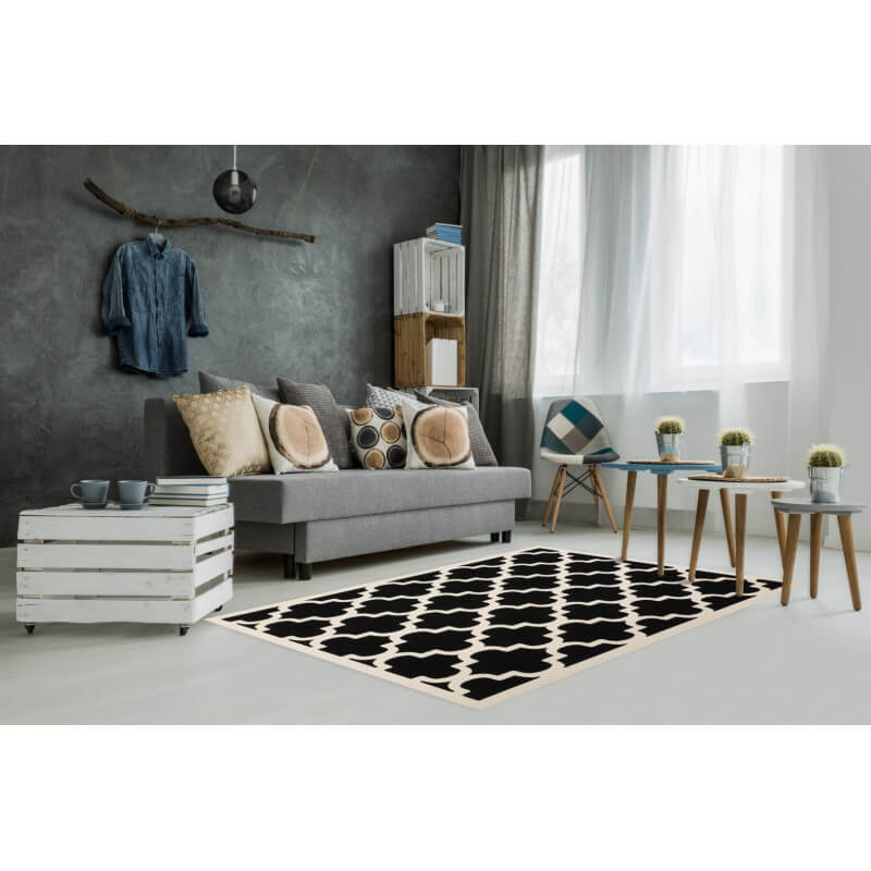 tapis style scandinave noir et blanc effet 3d amber. Black Bedroom Furniture Sets. Home Design Ideas