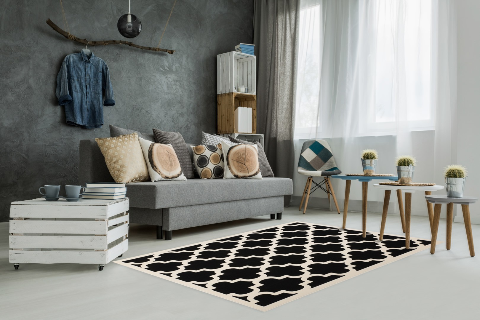 Tapis Noir Et Blanc Scandinave : tapis style scandinave noir et blanc effet 3d amber ~ Teatrodelosmanantiales.com Idées de Décoration