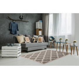 Tapis style scandinave taupe effet 3D Amber