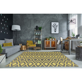 Tapis moderne intérieur et extérieur effet sisal gris et jaune Gazania