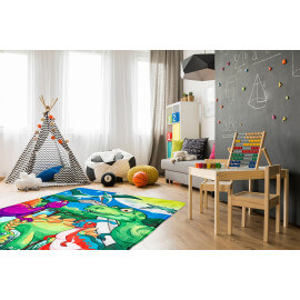 Tapis lavable en machine multicolore enfant Dinosaure