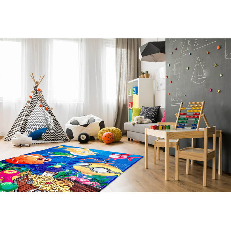 tapis multicolore lavable en machine enfant sea. Black Bedroom Furniture Sets. Home Design Ideas