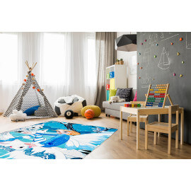 Tapis enfant lavable en machine multicolore Ice