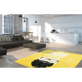 Tapis rectangle jaune tendance Hipster