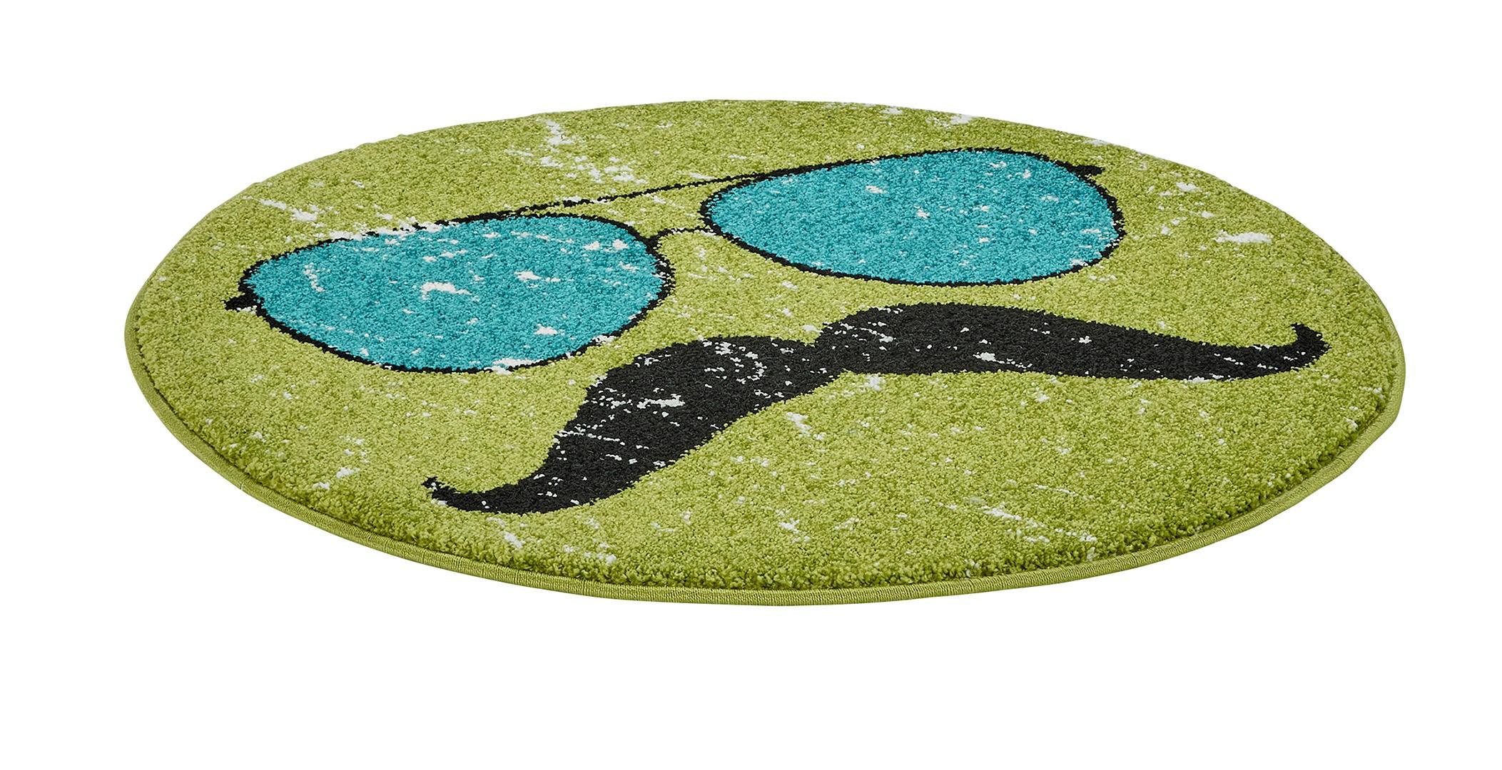 petit tapis rond vert tendance hipster. Black Bedroom Furniture Sets. Home Design Ideas