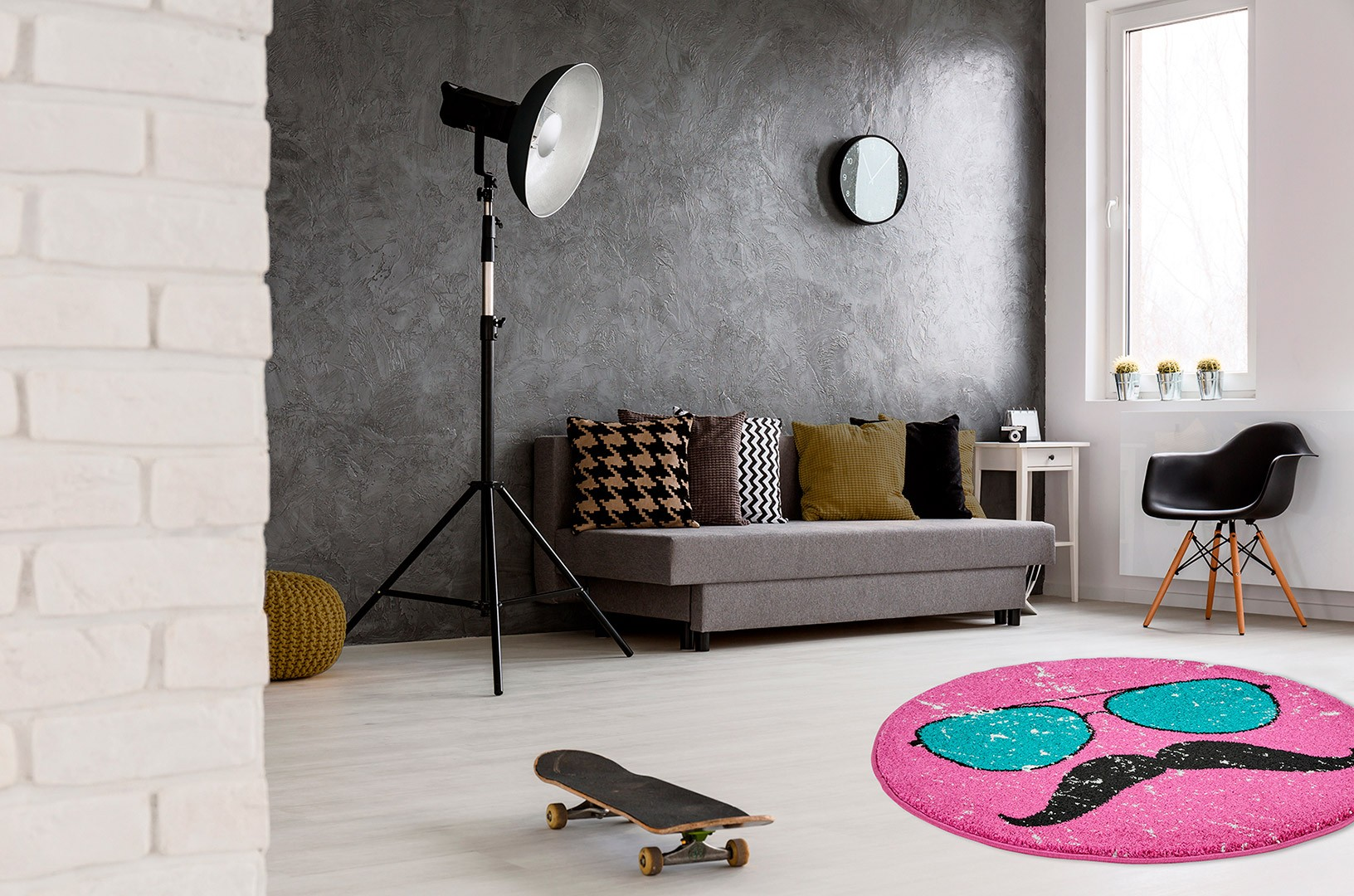 petit tapis rond rose tendance hipster. Black Bedroom Furniture Sets. Home Design Ideas