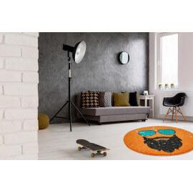 Petit tapis rond orange tendance Hipster