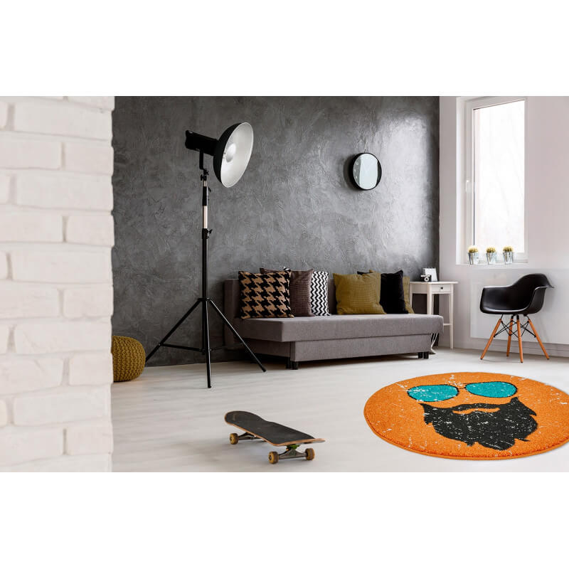 petit tapis rond orange tendance hipster. Black Bedroom Furniture Sets. Home Design Ideas