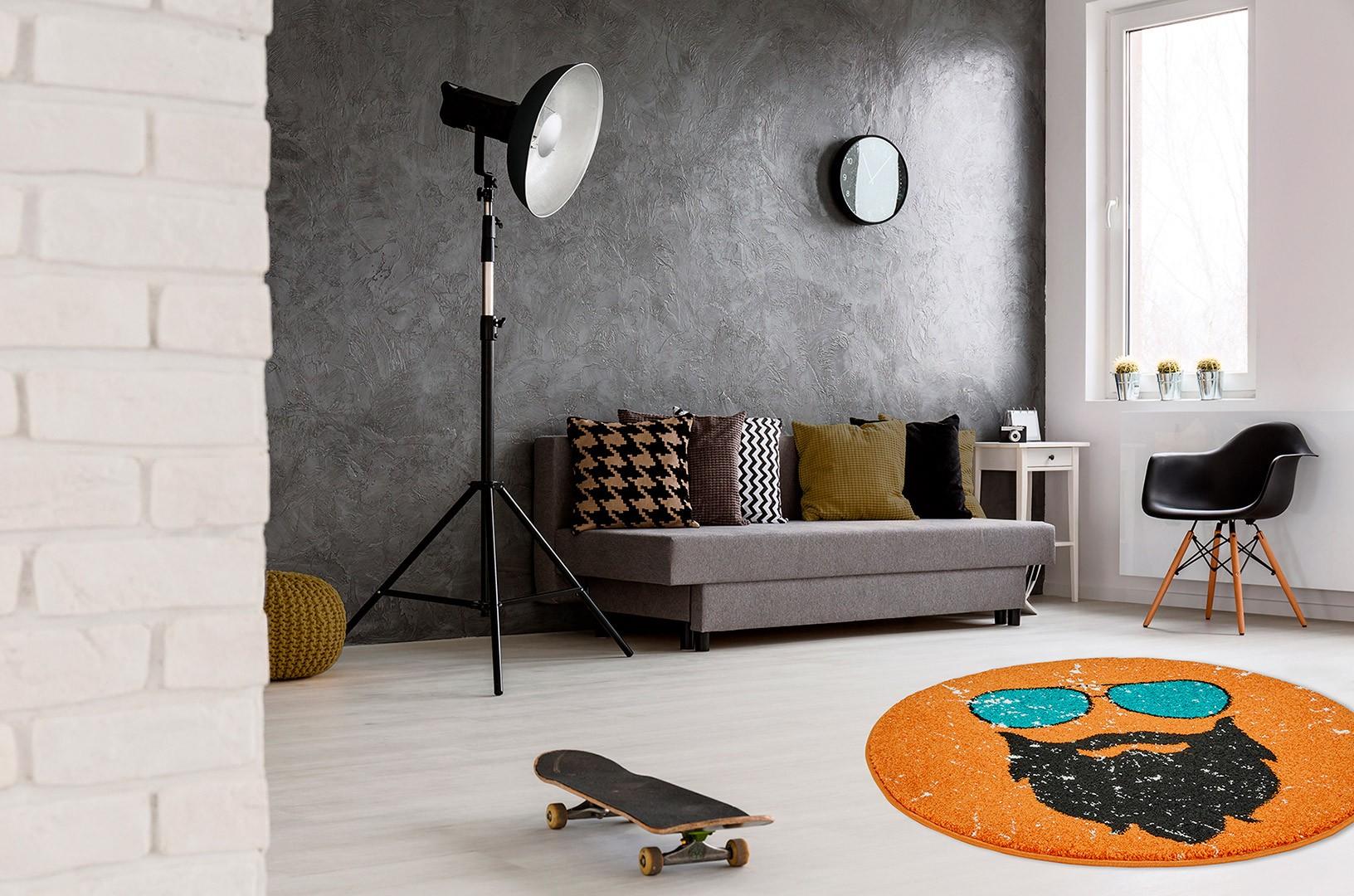 Petit tapis rond orange tendance hipster for Petit tapis rond