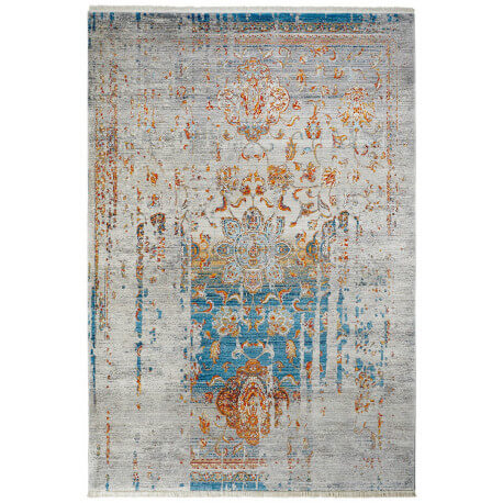 Tapis bleu en polyester vintage pour salon Hakin