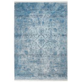 Tapis vintage à courtes mèches bleu Akar