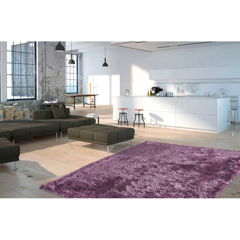 Tapis shaggy brillant avec lurex aubergine tapetto - Tapis shaggy brillant ...