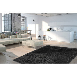 Tapis shaggy brillant avec Lurex noir Tapetto