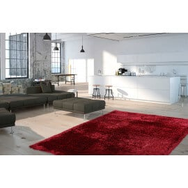 Tapis shaggy brillant avec Lurex bordeaux Tapetto