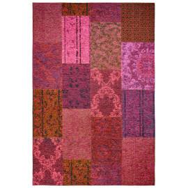 Tapis fuschia plat patchwork effet vintage Burmade