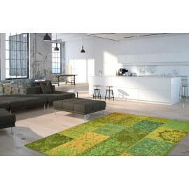 Tapis vert plat patchwork effet vintage Burmade