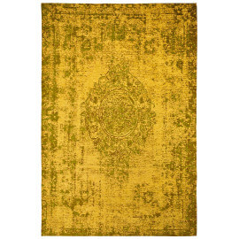 Tapis plat effet vintage rectangle jaune Shipa