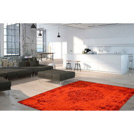 Tapis plat effet vintage rectangle rouge Shipa