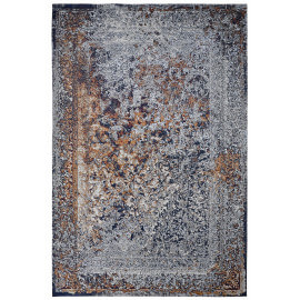 Tapis rectangle plat vintage bleu marine Riso