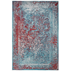 Tapis rectangle plat vintage turquoise Riso
