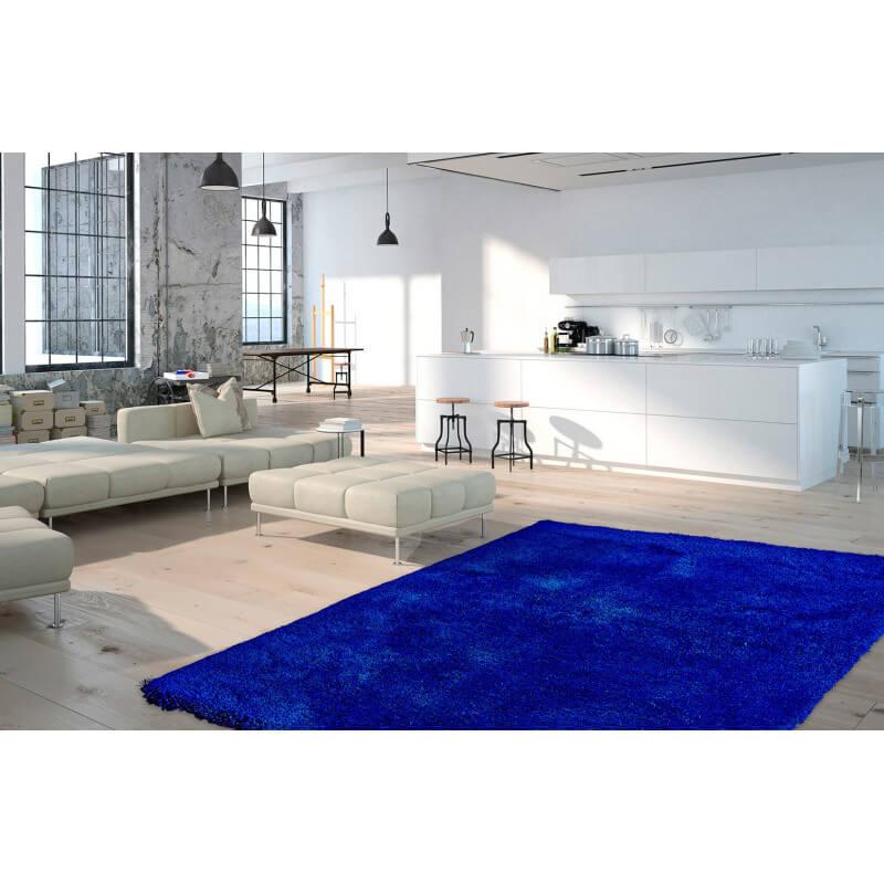 tapis shaggy uni en polyester bleu royal waffle. Black Bedroom Furniture Sets. Home Design Ideas